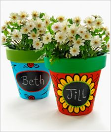Cute Painted Clay Pots with chalkboard paint