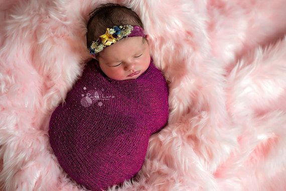 magenta sari silk tieback with organic embellishments; photography prop; newborn photo prop