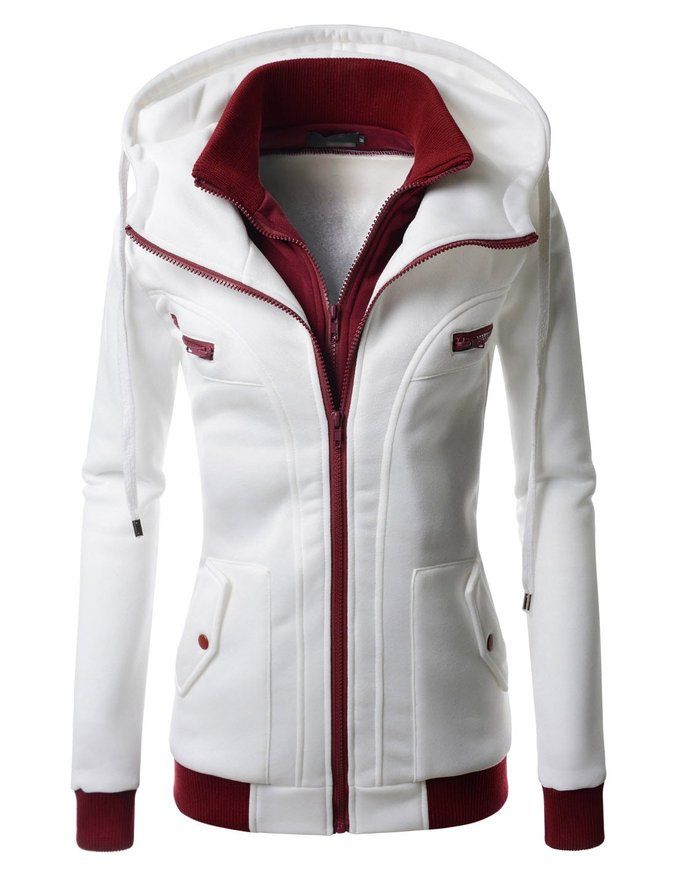 Nearkin (NKWLCJ10) Women Daily Fashion Slim Fit Double Zipup Casual Hoodie Jacket WHITE X-Large(Tag size 2XL)