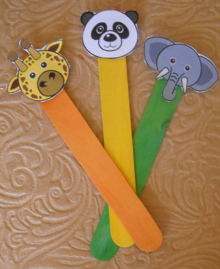 Puppet stick animals preschool puppets popsicle for How to make popsicle stick crafts