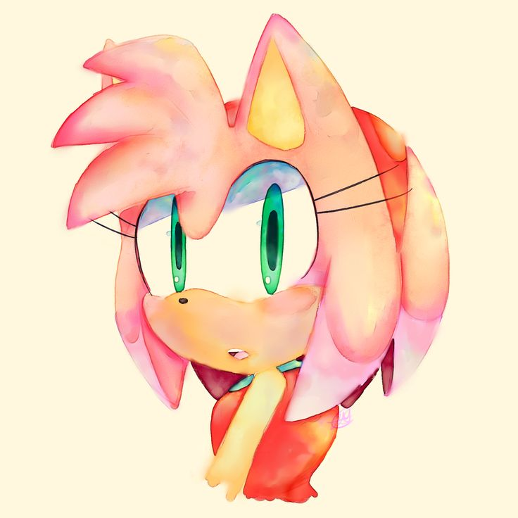 Another watercolor test: Amy Rose by 5LunatheHedgehog5