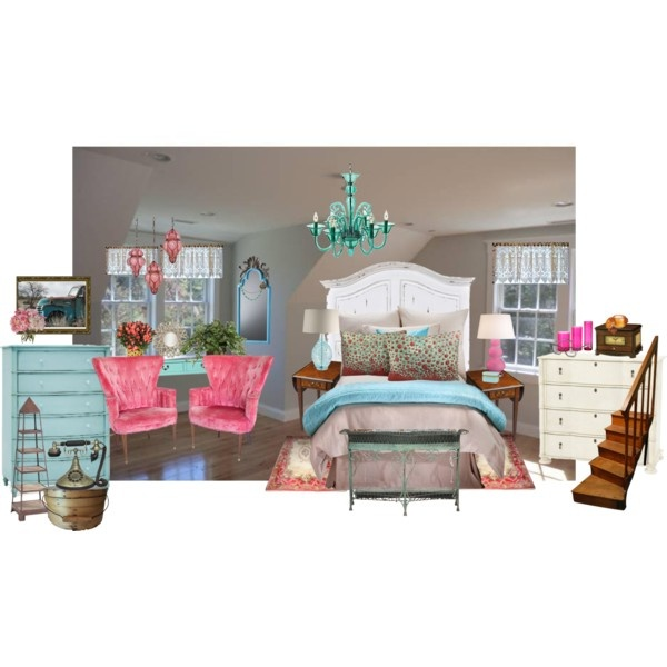 Pink and Aqua bedroom- Victorian, created by jenny-mellquist-snyder on Polyvore