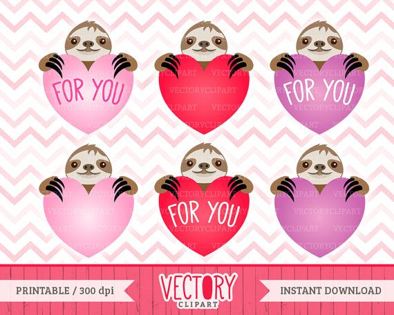 6 Cute Sloth Love Clipart Set Sloth Clipart by VectoryClipart