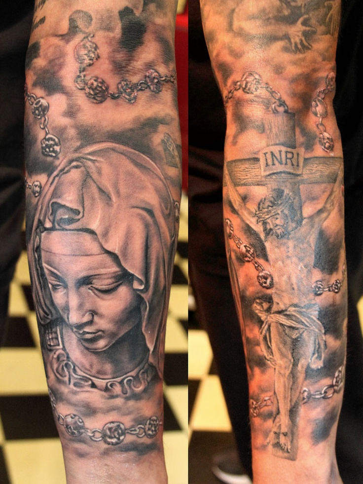 Jesus on the cross and Mary realistic tattoo by Mirek vel Stotker,Stotker Tattoo , London; Pieta; rosary
