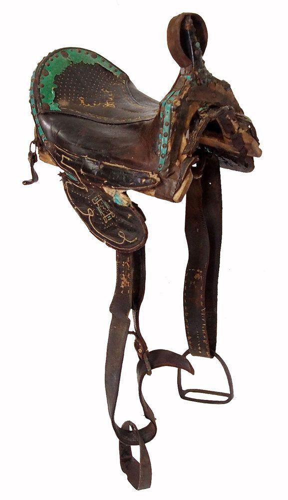 Antique islamic leather horse Saddle orient pferde Sattel Pakistan India No:1