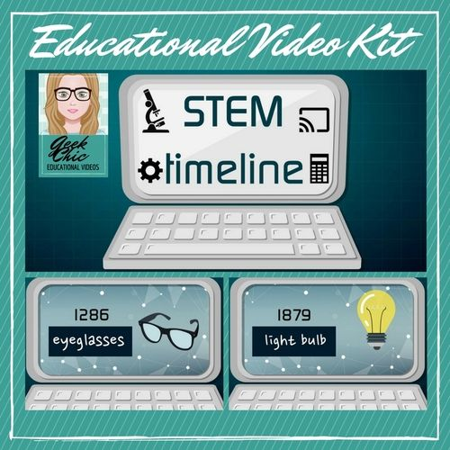 Science is fun, wacky, and interesting, get students excited about STEM with this STEM timeline video activity kit. This is a short (4 minute) educational video highlighting 40 significant events, discoveries, and inventions.   Also included:  -Powerpoint slideshow of the video slides -fun worksheet -answer key