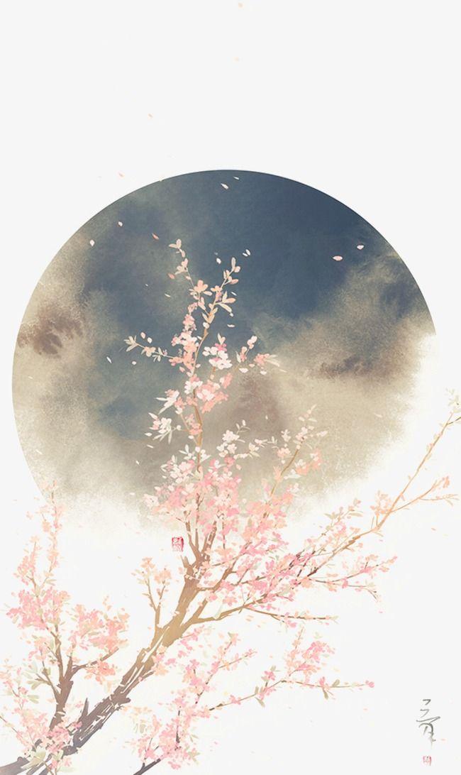 Chinoiserie,La couleur de la peinture,Aquarelle,La lune,Le vent chinois,La coule…
