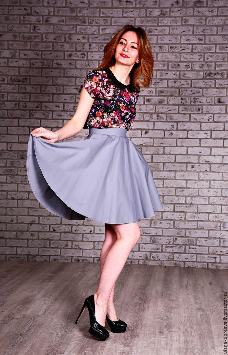 Купить Юбка из хлопка (солнце) - юбка, юбка до колен, юбка до колена, юбка солнце