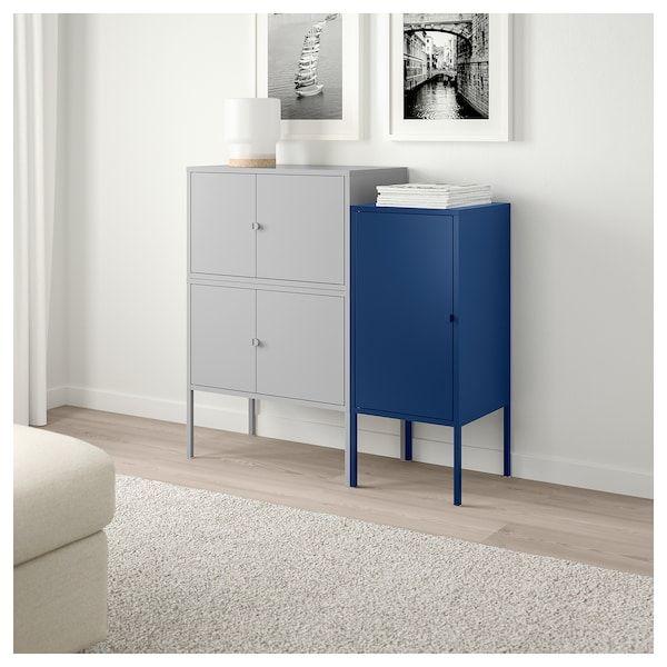 Lixhult Combinaison Rangement Gris Bleu Fonce 95x35x92 Cm Ikea Meuble Rangement Ikea Lixhult Rangement