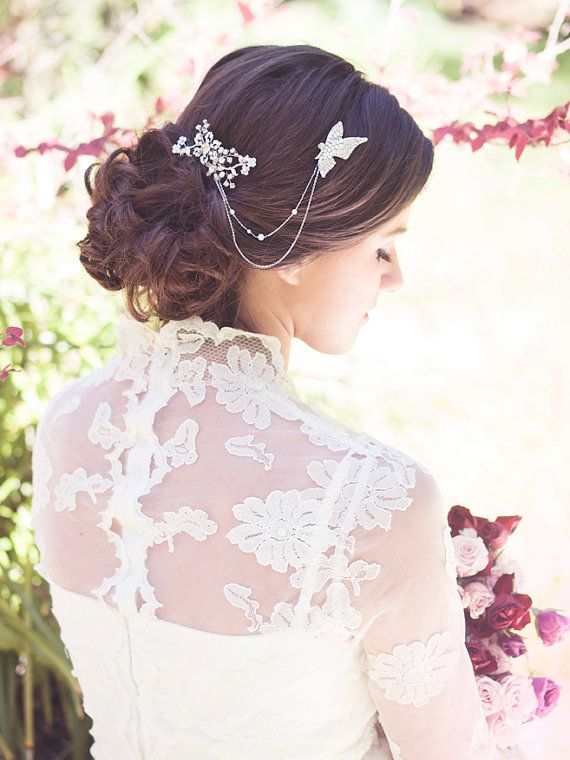 Bridal crystal comb wedding hair brooch butterfly by Elibre, $120.00