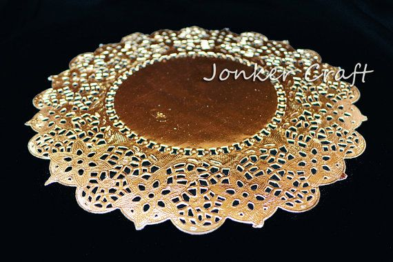 """Doiley Copper Gold Lace Paper Round 8.5"""" for Craft Scrapbooking Art Wedding Cakes Wrapping Display Metallic Shinny Bridal Shower"""