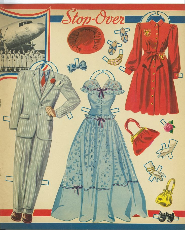 AIRLINER PAPER DOLLS Pilot and Stewardess  Date:1941 Publisher: Merrill Artist: Merlin?  8 of 10