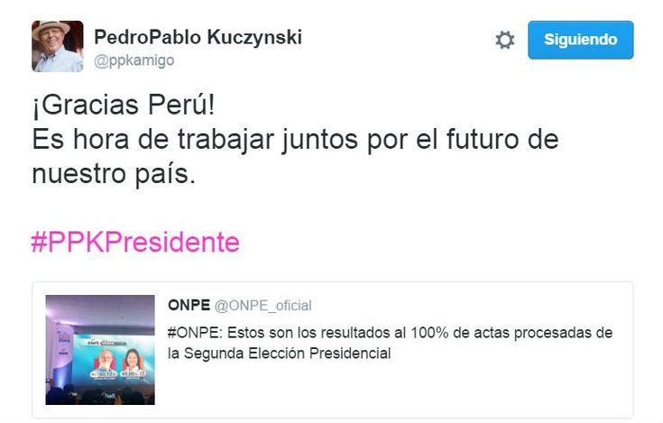 Fin de la Espera:  Pedro Pablo Kuczynski gana las elecciones presidenciales 2016.