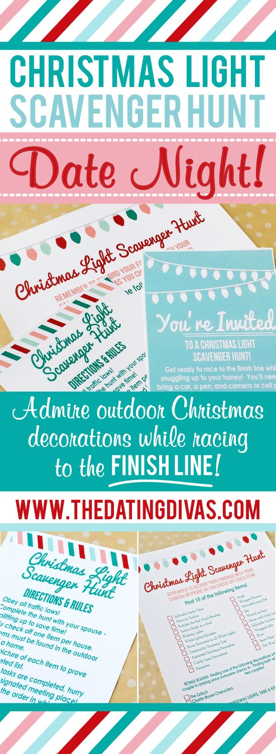 Christmas Light Scavenger Hunt Date Night - Comes with an invite, directions…