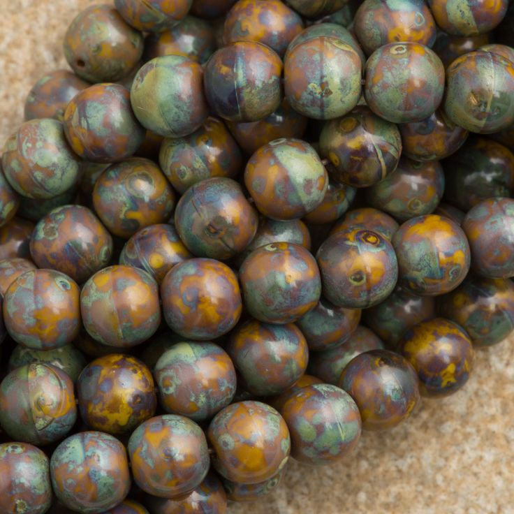 100 Czech 6mm Pressed Glass Round Goldenrod Picasso Beads 13740T