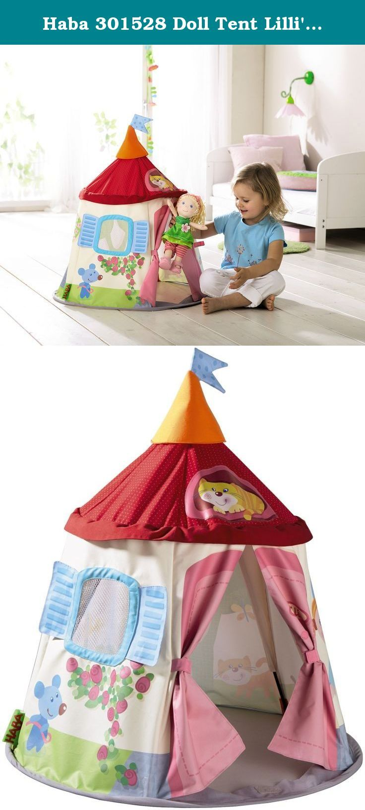 """Haba 301528 Doll Tent Lilli's Garden Lodge. All friends of Lilli are always welcome in this garden lodge. This doll-sized tent is the perfect hideaway for your little ones' doll companions to play and sleep! Easy to fold and transport and also makes a great place to store dolls and their accessories when not in use. Measures 27.75""""."""