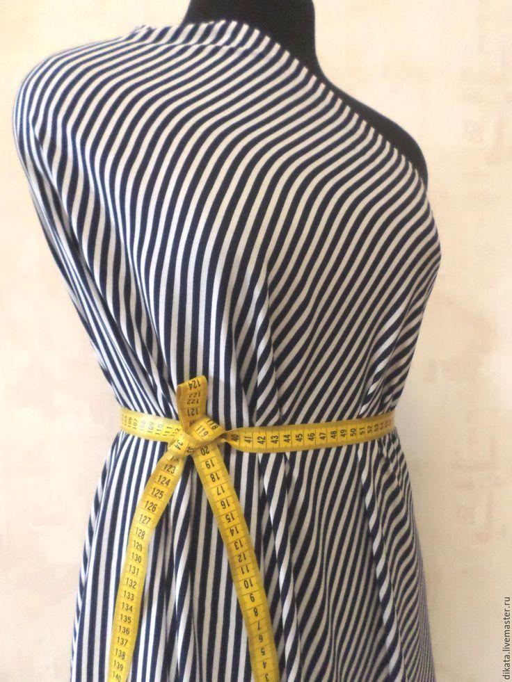 """Купить Штапель """"Полоска"""" - тёмно-синий, морской стиль, ткань, ткань для шитья, штапель, хлопок"""