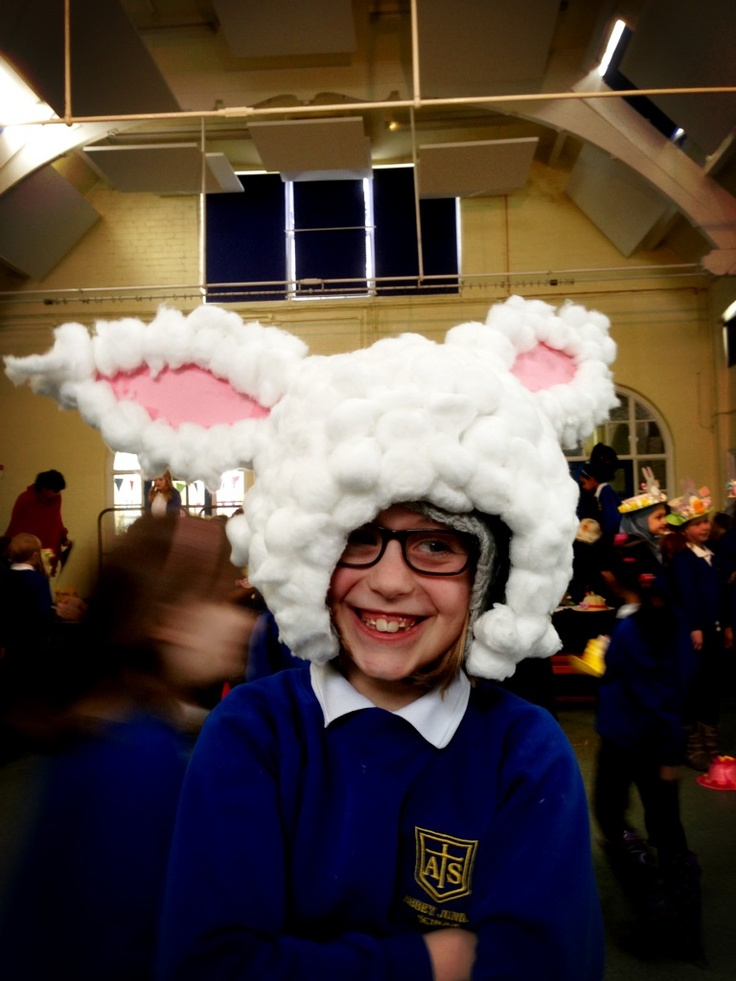 Easter bunny hat for the Easter bonnet parade.  Paper mâché, cardboard ears and bags and bags of cotton wool!