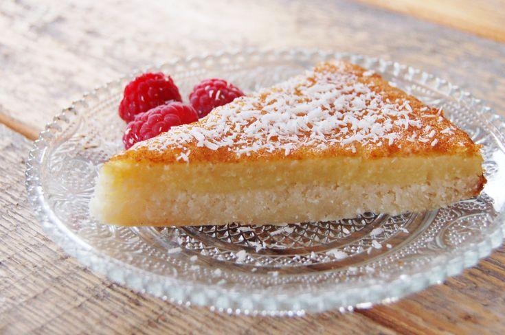 Frisse Kokos-citroentaart #glutenvrij #koemelkvrij #suikervrij