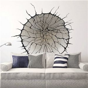 Amazing Modern Style Concave Crack Pit PVC D Wall Stickers
