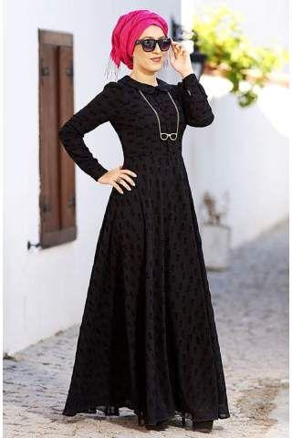 Nesrin Emniyetli Gözlük Desenli Şifon Elbise 1016741 Siyah
