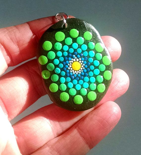 Painted Stone Hand Painted Colorful Turquoise by P4MirandaPitrone