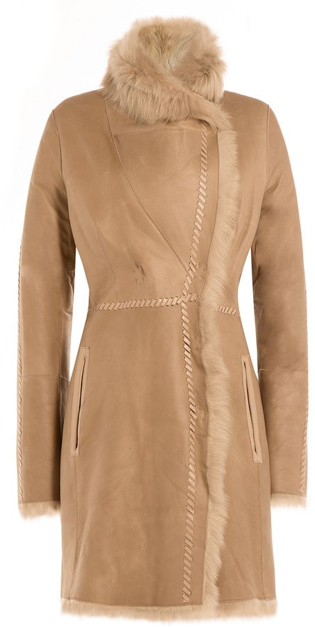 Yves Salomon Lamb Leather Coat with Shearling