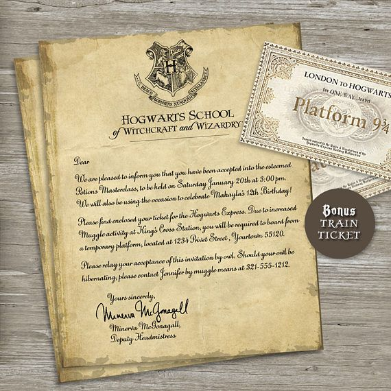 Bonus Train Ticket Included This Item Is A Printable Invitati Harry Potter Birthday Invitations Harry Potter Party Invitations Harry Potter Birthday Party