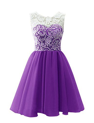 Dresstells® Scoop with Lace Short Tulle Wedding Dress, Cocktail, Party, Prom, Evening Dress Dark Purple Size 6 Dresstells http://www.amazon.co.uk/dp/B00R2MZKI6/ref=cm_sw_r_pi_dp_hyZhvb011P5ZX