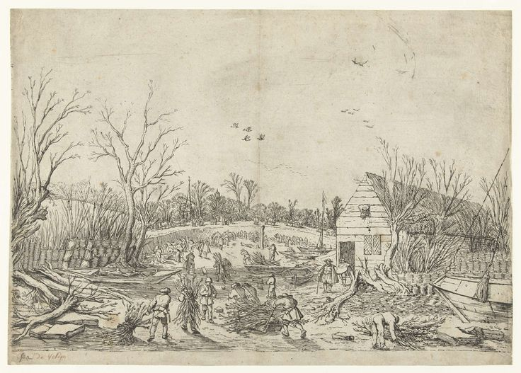 Esaias van de Velde | Herstelwerkzaamheden aan de doorgebroken Lekdijk bij Vianen, Esaias van de Velde, 1624 | De doorgebroken Lekdijk in 1624. Mannen met takkebossen op hun rug lopend door de droge rivierbedding van de Lek. Boten zijn drooggelegd. Met takken wordt de Lekdijk hersteld. In de verte de toren van de kerk van het dorp Vianen en de Domtoren van Utrecht.