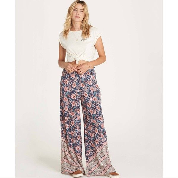 Midnight Kiss Pant ($55) ❤ liked on Polyvore featuring pants, checkered pants, white trousers, white beach pants, wide leg print pants and print pants
