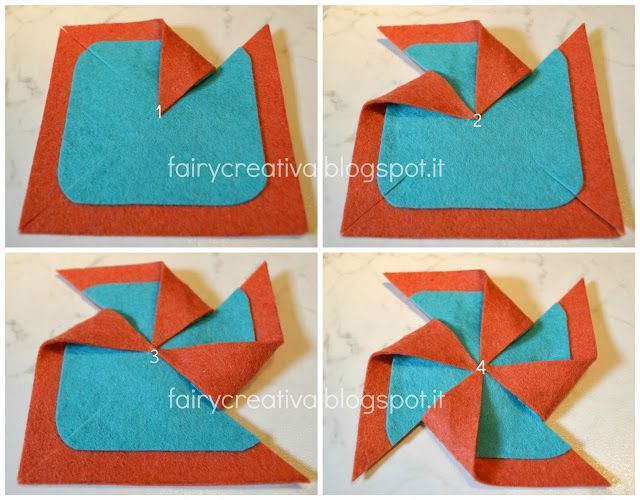 Fairy Creativa: Tutorial girandola in feltro - felt pinwheel tutorial