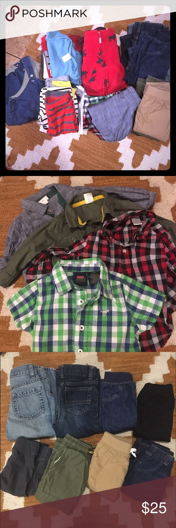 30 Pieces - Baby Boy Clothes - 3m - 2T 30 pieces of baby boy clothes. Most sizes are 3 to 12 months. Two of the jeans, a shirt and a comfy pant are a 2T. There are 4 button downs, 3 jackets, 1 vest, 1 overall, 7 onesies/shirts, 1 pajama set, 4 pairs of jeans, 4 pants, 5 sweat/comfy pants. Many brands - Oldnavy, Carters, Hanes, Levi's, Cat & Jack, Wranglers, Children's Place. All in Great condition. No stains, may need some ironing. cat & jack Matching Sets