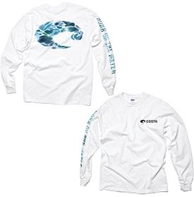 """Show off your love of the water with the Costa Del Mar® Born on the Water Long Sleeve T-Shirt. The adapted graphic Costa® logo on the back of the shirt and the """"Born on the Water"""" on the right arm are surely signs that seasickness is not in your vocabulary. The pre-shrunk cotton of this long sleeve tee will have you throwing this on every day before you climb aboard."""