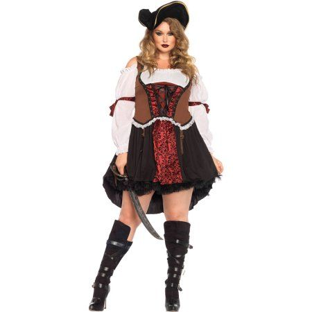 Pirate Wench Ruthless Women's Plus Size Adult Halloween Costume, Size: Plus 2X (16-20), Multicolor