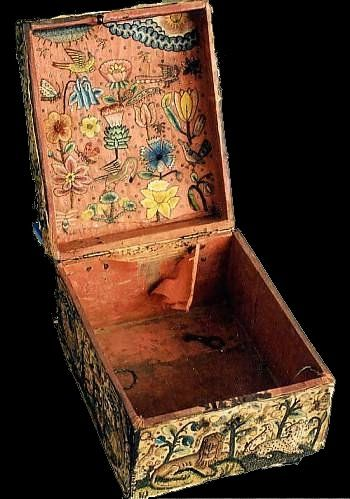 The embroidered casket dates from between 1650 to 1680. It display an immensely rich collection of colours, materials, stitches and imagery. Unfortunately we do not know the origins of this casket. The fact that it has survived is no doubt due to a high regard for the work of an ancestor.