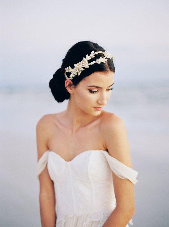 Gold Bridal Headpiece. Gold Bridal Hair Accessory.…Edit description