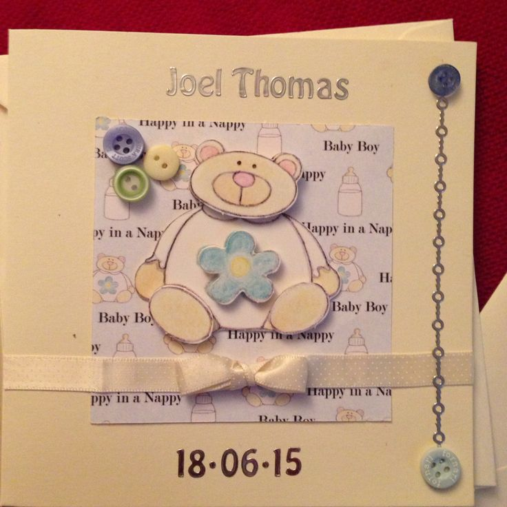 Baby boy birth card personalised with name and birth date
