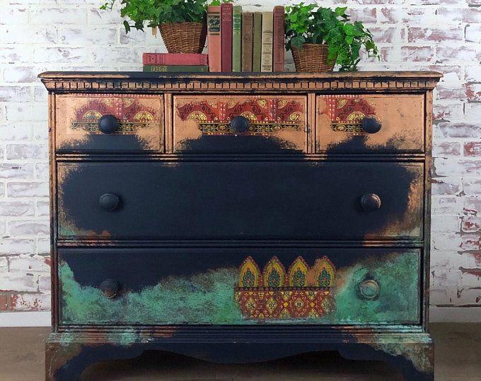 Bohemian Painted Buffet Sideboard Boho