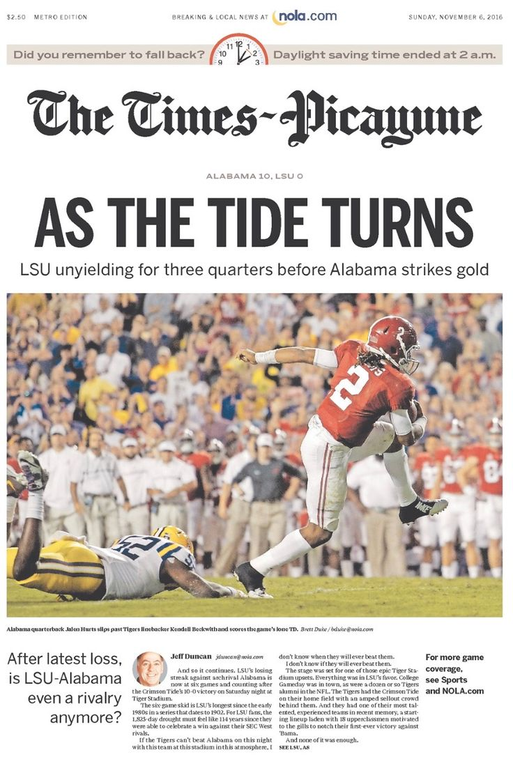 As The TIDE Turns - from The Times-Picayune front page following Alabama's 10 - 0 shutout of LSU #Alabama #RollTide #Bama #BuiltByBama #RTR #CrimsonTide #RammerJammer #BAMAvsLSU