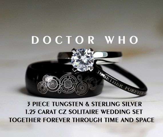 Hey, I found this really awesome Etsy listing at https://www.etsy.com/listing/208600408/doctor-who-his-8mm-tungsten-and-hers-4mm