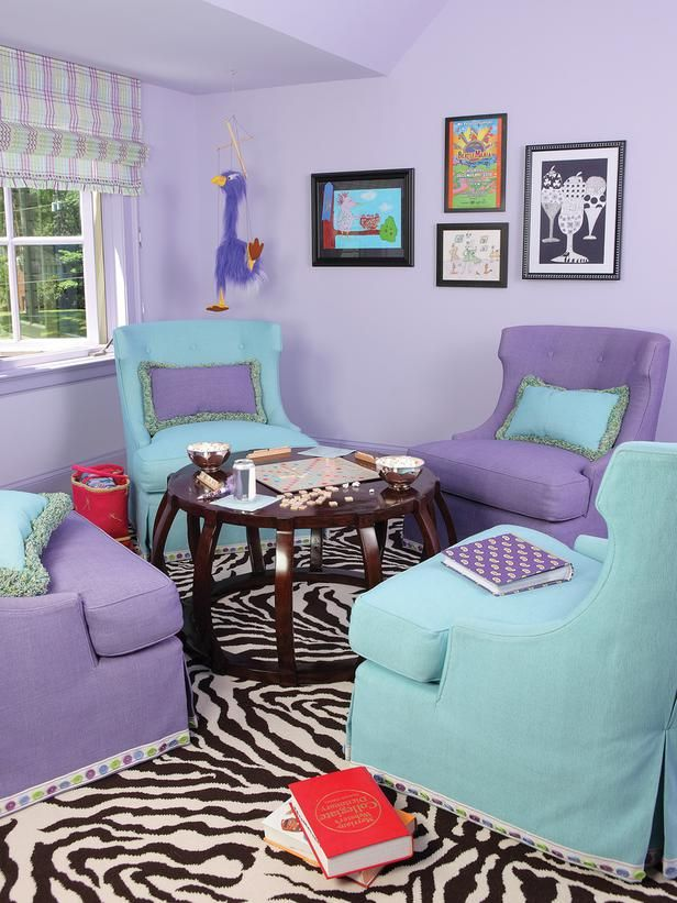 Amazing Bright And Fun Girls Bedroom With Purple Walls, Blue And Purple Chairs With  Game Table Pictures