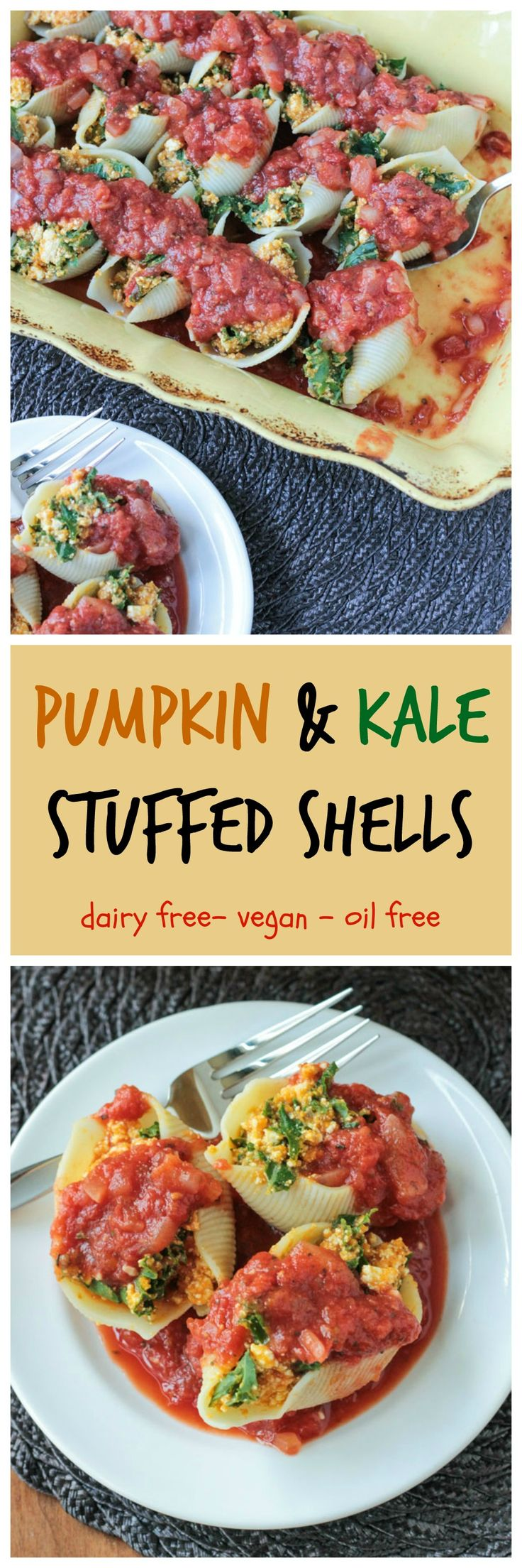 Pumpkin & Kale Stuffed Shells - a delicious #dairyfree #comfort food dish with a fall twist that's perfect anytime of year! #vegan #stuffedshells #pumpkin #kale #italian #pasta