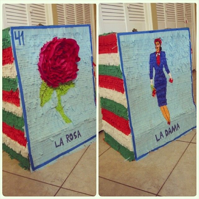Mexican Loteria Pinata! La Rosa.. La dama #RubiosPinatas