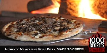 """At 1000 Degrees Pizzeria, you are the chef! Create your own authentic 11"""" Neapolitan Pizza, choosing from over 30 fresh & delicious toppings for only $8.50. We also over 11 of our favorite recipes, priced from $7.95 and up. Enjoy the freshest, most authentic Artisan pizzas, with unlimited possible combinations. Choose your sauce, your crust, your cheeses, veggies, meats and more!"""