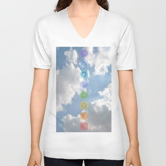 DESCRIPTION American Apparel Fine Jersey V-Necks are made with 100% fine jersey cotton combed for softness and comfort. V-Necks are Unisex Fit so women may wish to select one size smaller.   ABOUT THE ART Chakras, up to the Sky, power, energy, symbols, The Greek sky above the Parthenon, light embrace the sky
