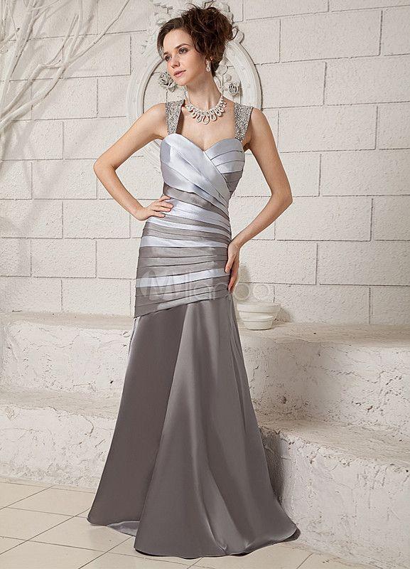 robe de soire plisse argente en satin stretch bretelles longueur plancher milanoocom - Milanoo Robe De Soiree Pour Mariage