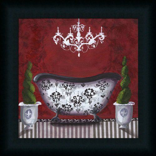 French Bath In Red Bathroom Décor 15x15 Framed Art Print Picture By Cat  Heartgeaves, Http