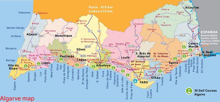 Algarve Um Lugar Ao Sol Mapa Algarve Por Do Sol Lugares