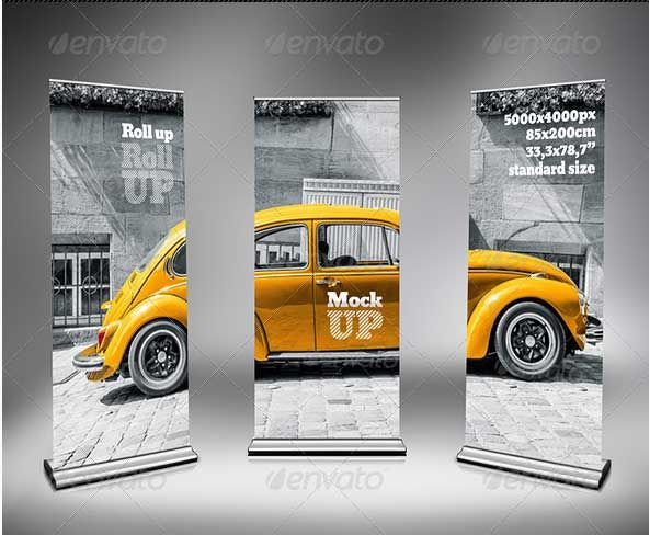 31+ Amazing Free PSD Rollup Banner Mockup Designs Download